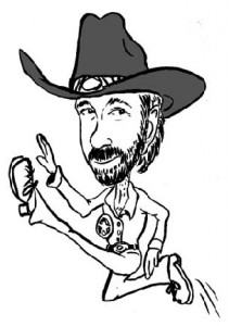 Cartoon Drawing of Chuck Norris Flying Kick Knockout